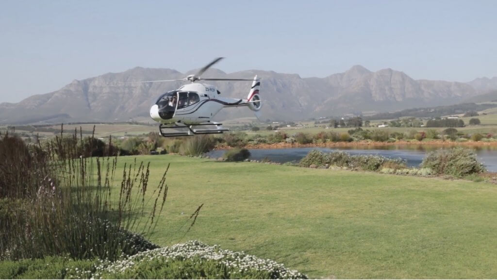 Wedding Arrival By Helicopter At Cavalli Estate Cavalli