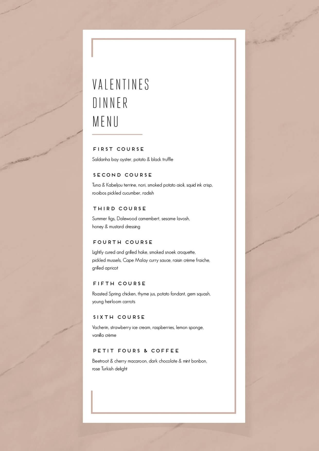 Cavalli Restaurant Valentines Dinner Menu